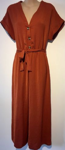 NEW LOOK ORANGE BUTTONED WIDE LEG JUMPSUIT BNWT SIZE 12